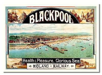 Blackpool British Railway Travel Advert Old Retro Vintage Picture Poster