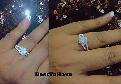 925 Sterling Silver Ladies Wedding Engagement Round Cut Halo Bridal Ring