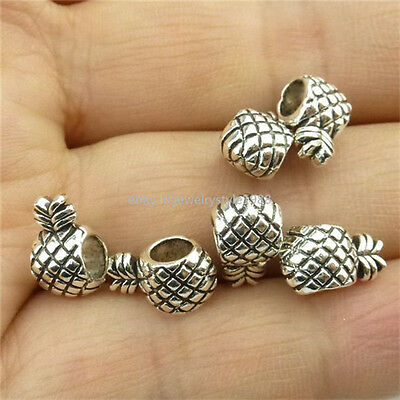 13926 50PCS Mini Vintage Silver Alloy Pineapple Fruit 4mm European Bead Making