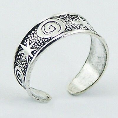 Wholesale bulk lot 10 x Toe ring 925 sterling silver antique stars & spirals NEW