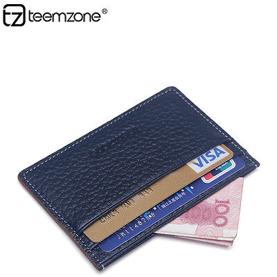 Men Real Leather Slim Credit Card Case ID Cash Holder Small Thin Wallet Casual