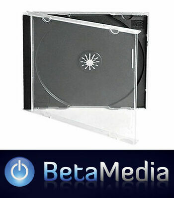 5 x Jewel CD Cases with Black Tray Single Disc - Standard Size CD case
