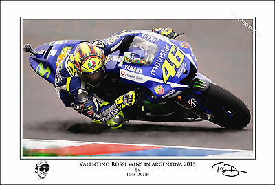 Valentino Rossi Art Print Signed and Numbered by Artist MotoGP Argentina 2015
