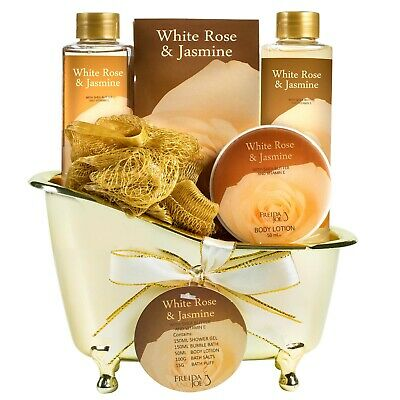 White Rose Jasmine Gold Bath Tub Spa Basket Bath and Body Gift Set Womens Gifts