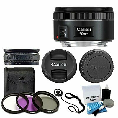 New Canon EF 50mm f/1.8 STM Lens For Canon Camera + 3 Piece Filter Kit And More