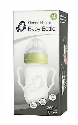 PuttiAtti Silicone Baby Handle Bottle, Green or Pink, 8 oz