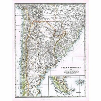 Antique Map 1914 - Chile, Argentina, Tierra Del Fuego by W & AK Johnston
