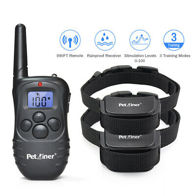 Petrainer Dog Training Shock Collar with Remote Rechargeable E-Collar for 2 Dogs