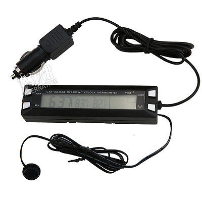 Auto LCD Digital Clock Thermometer EC30 Car Voltage Measuring Meter Monitor