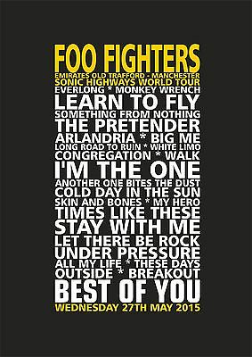 Foo Fighters Old Trafford Manchester Sonic Highways Tour Set List Poster