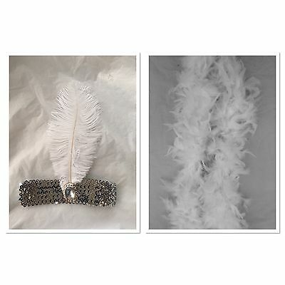 1920s Charleston Flapper Set Silver Sequin Headband And White Feather Boa
