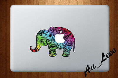 Macbook Air Pro Vinyl Skin Sticker Decal Cute Colour Abstract Elephant CMAC025