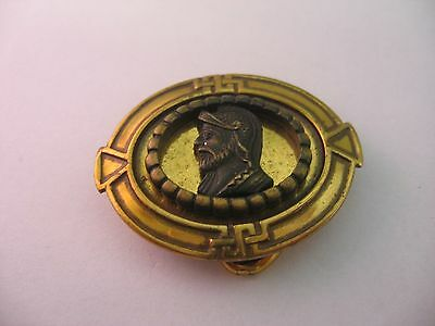 Very Cool Small Vintage Belt Buckle WARRIOR PROFILE Great Border Design