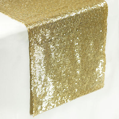 """12""""x108""""  Champagne SEQUIN TABLE RUNNER Wedding Party Catering Event Linens SALE"""