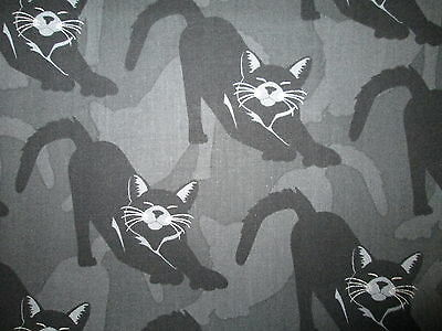 Cats  Black Silver Metallic Whiskers Gray Blk Cotton Fabric Fq