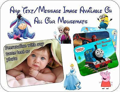 New Personalised Any Name Text Photo Computer Custom Mouse Mat Pad Childrens