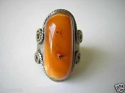 XL Butterscotch Karamell Natur Bernstein Ring versilbert Amber 10,2 g /17,4 mm