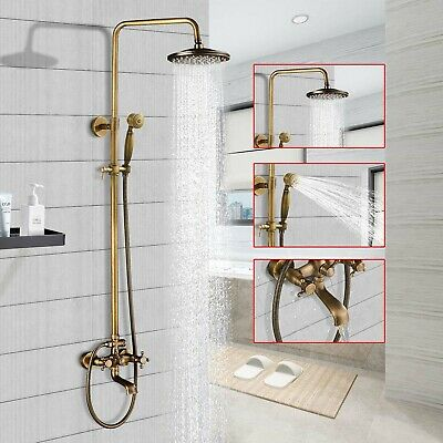 Antique Brass Rain Bathroom Shower Faucet Set Combo Faucet Hand Shower Mixer Tap