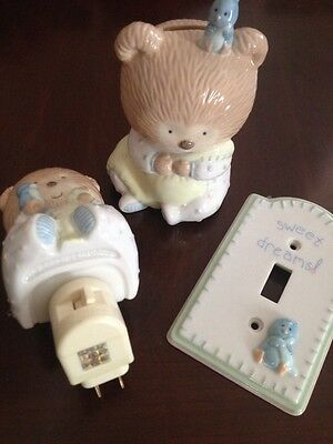 Baby Bear Shower Gift Bank, Nightlight And Switch Plate New!