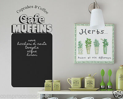 LAVAGNA CUCINA 60x30 WALL STICKERS Made in Italy Cafe Muffins