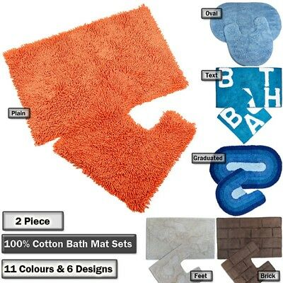100% Cotton  2 Piece Bathroom Mat & Pedestal Mat Set / Bath Rug in 11 Colours