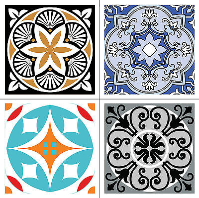 """4 Vinyl Tile/Wall Decal Stickers - Modern Design Decor, For Any Room - 10cm/4"""""""
