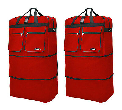 """Pack of 2, 40"""" Red Wheeled Duffel Bags Large Rolling Spinner Suitcase Luggage"""