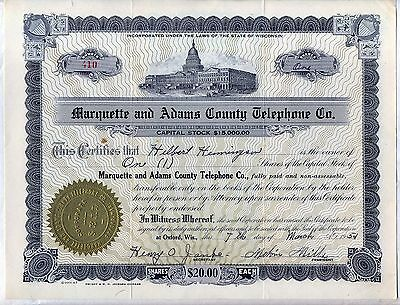 Marquette & Adams County Telephone Co. Stock Certificate Oxford Wisconsin