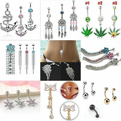 OL Belly Button Dangle Ring Crystal Jewelry Barbell Navel Ball Bar Body Piercing