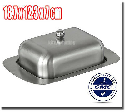 Matte Sanding Kitchen Craft Stainless Steel Butter Dish Cover Tray Holder Box