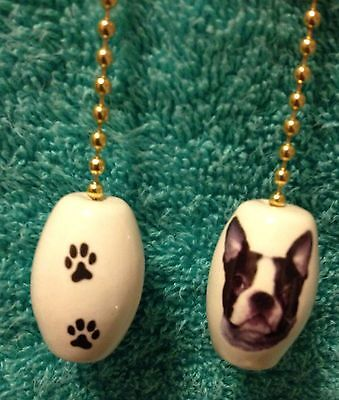 One Boston Terrier Dog Fan Pull With Paw Prints On The Back 1""