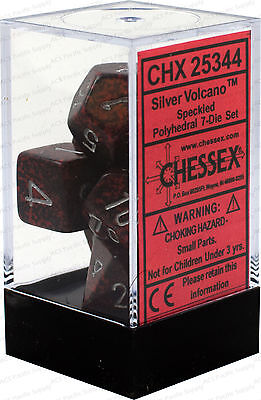 Chessex Speckled Silver Volcano Polyhedral 7 Dice Set CHX25344