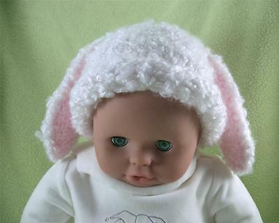 Baby Bunny Hat Newborn to 6 mo. Handmade Knit Photo Prop