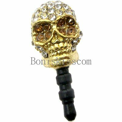 Skull With Rhinestone Anti Dust Plug Cover For Mobile Phone With 3.5mm Import