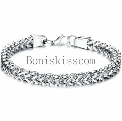 Heavy Stainless Steel Square Curb Wheat Chain Link Bracelet Men's Bangle Silver