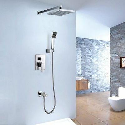 Square Bathroom Wall Mount Rain Shower System with Shower Head & Hand Shower Set