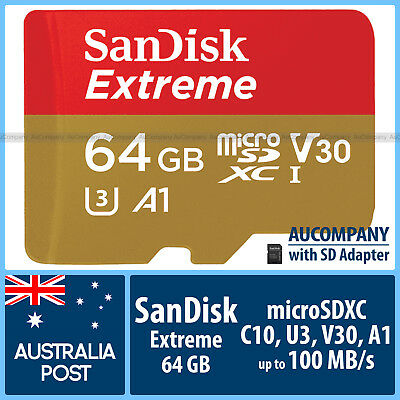 SanDisk Extreme 64 GB 64G Micro SD SDXC Class 10 4K Ultra HD 100MB/s A1 GoPro 4