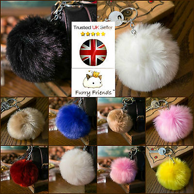 PomPom Keyring! Soft Fluffy BIG 10cm Faux Fur Ball Bag Chain Charm Pendant Pink