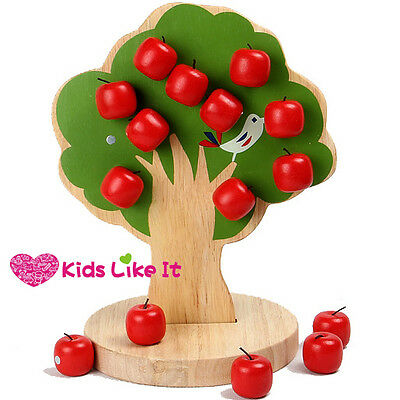KIDS Wooden Magnetic APPLE TREE Educational toy Counting MATHS Addition GAME