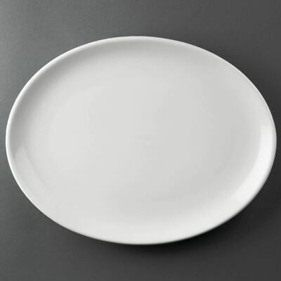 6X Athena Hotelware Oval Coupe Service Plates 305X241 mm Porcelain White