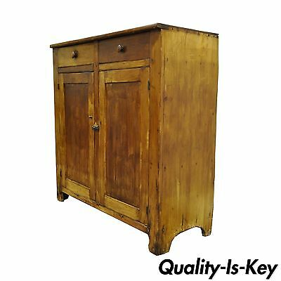 Antique 19th C Rustic Primitive Solid Pine Dovetail Joined Cupboard Cabinet