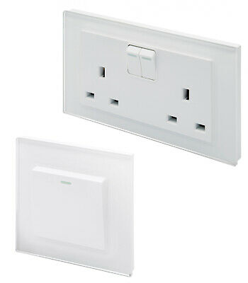 Retrotouch Crystal White Screwless Sockets and Switches (Plain Glass)