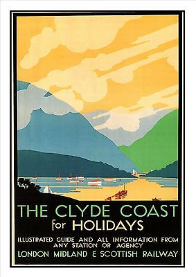 The Firth Of Clyde Railway Vintage Retro Oldschool Old Good Price Poster