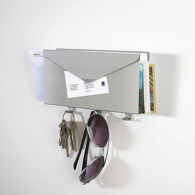 Umbra Lettro Wall Organizer Aluminum Key Mail Letter Holders Rack Wall Mounted