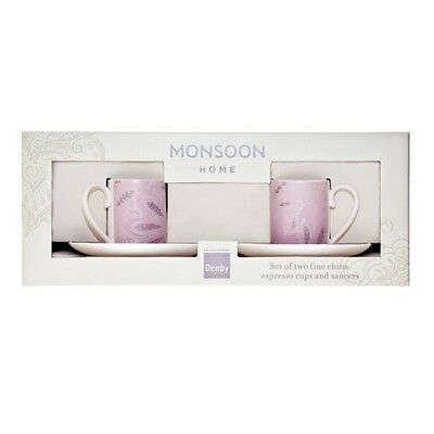Denby Monsoon Chantilly Espresso Cup and Saucer  Set of 2