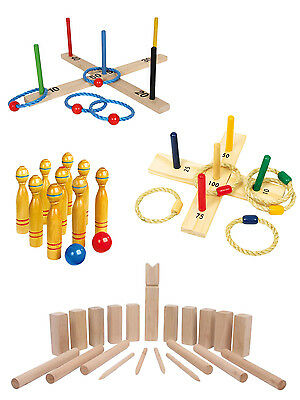 Traditional Quality Wooden Garden Games Outdoor Lawn Party Toys Adults Kids Fete