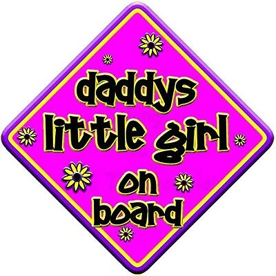"FLORAL * daddys little girl on board "" novelty baby on board car window sign. Sh"