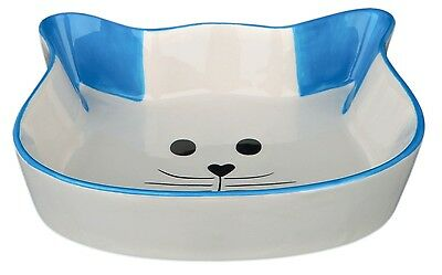 Ceramic Cat Bowl Cat Face Shaped Food Water Dish with Blue Ears & Trim 0.25L