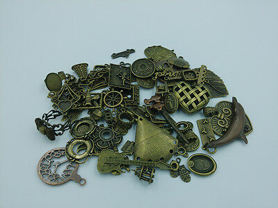 DIY 50g Lot Vintage Antique Brass Charm Pendant Mix Beads Connector Connector