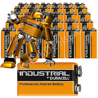 10 DURACELL PROCELL INDUSTRIAL BATTERIES 9v PP3 MN1604 BLOCK ALKALINE  BATTERY